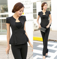 Wholesale Woman Business Pants Suits - Wholesale-Novelty Ladies Pant Suits for Women Business Suits Formal Office Suits Work Wear Blazer and Pant Sets Elegant Office Uniforms