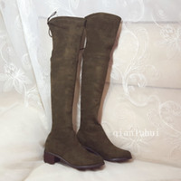 Wholesale women leather thigh high boots - New fashion sexy women over knee high long winter boots 100% genuine leather five colors thigh high boots woman Sheepskin Suede Med heel