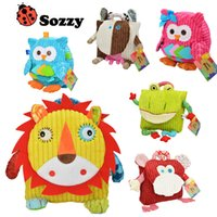 Wholesale Owl Cotton Bags - 25cm Height Children SOZZY Fox Owl School Bags Lovely Cartoon Animal Backpacks Baby plush Shoulder bag Schoolbag Toddler snacks book bags
