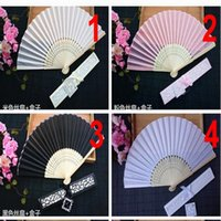 Wholesale Shower Costumes - 10 colors to choose from wedding favors bridal shower souvenir silk hand fans with laser cut gift box