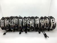 ingrosso i braccialetti di cuoio mescolano 12pcs-12pcs braccialetto di ancoraggio fatto a mano bracciale da uomo in pelle gufo tessuto braccialetto a più strati braccialetto di fascino braccialetti braccialetto misto gioielli braccialetto