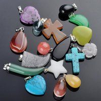 Wholesale Crosses Charms Stone - Brand New Natural Stone Heart Cross Star Pendant Charms Fit For Women Men Bijoux Handmade Necklace Jewelry 10Pcs Free Shipping