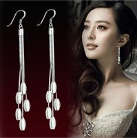 Wholesale Clip Studs - Fashion silver earrings earrings female models long section of the new Korean fashion tassel ear jewelry ear clip ear hook