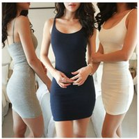 Wholesale Cap Vest - Fashion Women Sexy Backless Basic Dresses Sleeveless Slim Vestidos Vest Tanks Bodycon Dress Strap Solid Party Dress