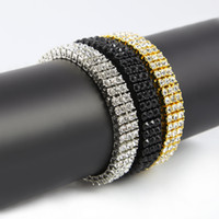 """Wholesale Cool Hip Hop Jewelry - Men's Black Gold Silver Finish 3 Row Diamond Simulate Bracelet 8"""" 12mm Rhinestone Iced Out Hip Hop Bling Bracelet Cool Jewelry"""