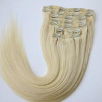 Wholesale platinum blonde human hair extensions - Clip in Hair Extensions Brazilian Human Hair 20 22inch 60# Platinum Blonde Straight Hair Extensions 260g 7pcs set