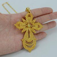 Wholesale Gold Items 24k - Ethiopian Big Cross Pendant Necklaces for Women Men,24K Gold Plated Africa Ethiopia Crosses Jewelry Eritrea Items #031506