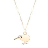 ingrosso pendenti d'oro d'oro-10pcs / lot Collana dell'uccello del Kiwi per le donne Piccolo pendente d'argento dell'argento del pendente dei monili di dichiarazione dell'uccello della Nuova Zelanda Collares all'ingrosso