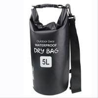 Wholesale Tarpaulin Bags - 500D PVC Tarpaulin waterproof bucket bag drybag backpack with side zipper pocket and adjustable strap 10L Waterproof Dry Bags