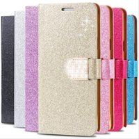 Nouveau Portefeuille Crystal Bling PU Housse en Cuir pour Samsung Galaxy S4 / 5/6 Edge Note 2/3/4/5 Iphone 4S 5S 6S Plus Leather Flip Diamond Shining Cover