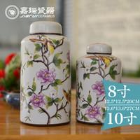 Wholesale Ceramic Tea Canisters - hot sale chinese vintage Arts and Crafts ceramic tea canister Handmade storage box ceramic food jars Porcelain tea caddy