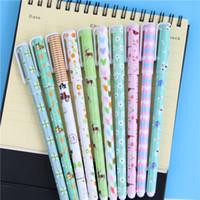 Wholesale Ink Pen Printing - Wholesale-10 Pcs Fresh Style Kawaii Animal Print Gel Ink Pen Promotional Gift Stationery School Office Supply