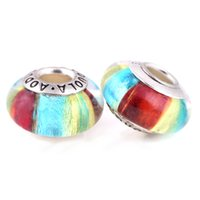 Wholesale Colorful Spike Bracelets - 12 Pcs a Lot Silver Plated Colorful Beads DIY Charm Round Shape Fit For Pandora Charms Bracelet