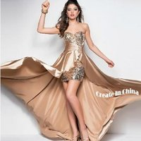 Wholesale Sequin Fabric Prom - 2016 New Cheap Hi-Lo Bandage Evening Dress Paillette Sequin Satin Fabric Strape Adjust Stomacher Toast Clothing 9 Color for Choice TM1608003