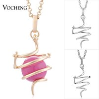Wholesale Gold Chain Box Link - VOCHENG Angel Bola Snake Pendant Necklace 3 Colors Plated Copper Metal Cage Prayer Box Jewelry with Stainless Steel Chain VA-231