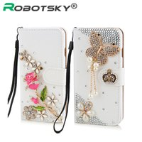 Wholesale Top Quality Note Cases - Wholesale-Luxury Top quality Hand-made 3D Bling Crystal Rhinestone Flip Wallet PU Leather Case Cover for Samsung galaxy S 3 4 5 6 Note 3 4