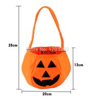 Wholesale Funny Candies - Trick or Treat Hallowen Smile Pumpkin Bag Kids Candy Bag Funny Cute Candy Handbag Housekeeping & Organizers #GH-64