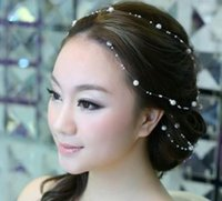 Wholesale Sexy Accesories - Cheap Modest Beading Hair Accesories Pearls Wedding Accessories 1M One Piece Sexy Elegant Hair Fascinators New Arrive Fashion For Bridal