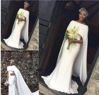 Wholesale Latest Bridal Dresses - 2018 Latest Satin Mermaid Wedding Dresses Black Girl With Cape Zipper Back Arabic Bridal Dresses Wedding Gowns