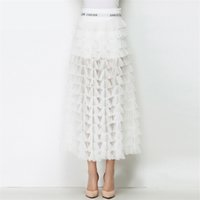 Wholesale Maxi Layered Skirt - High Quality Luxury Brand Women Long Skirts 2017 Autumn Fashion Elegant A Line High Waist Layered Mesh Party Cocktail Evening Maxi Skirts