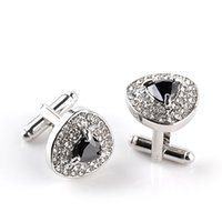 Wholesale dress shirt men wedding - Luxury heart Crystal diamond Cufflinks Cuff Links sleeve button for women men shirts dress suits Cufflink wedding jewelry gift 170605
