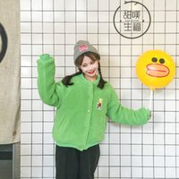 boy korece sevimli çizgi film toptan satış-Yeni sevimli Moda Ceket Kore Gevşek Büyük Boy Kuzu Yünü Nakış Karikatür Kalın Pamuk Öğrenci Ceket Kadın Ceket
