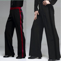 ropa de baile de salón al por mayor-2018 New Men Latin Dance Pants Velvet Mens Ballroom Dance Pants Black / Red Rumba / Samba / Tango / Cha Cha / Jazz Dancewear Pants