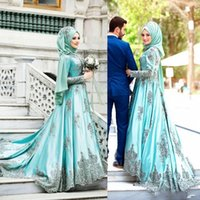 Wholesale Line Mint Green Prom Dress - 2017 Saudi Arabic Mint Sage Muslim Prom Dresses With Long Sleeves A-Line Beaded High Collar Satin Appliqued Evening Dresses Sweep Train