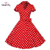 vestido rockabilly vermelho venda por atacado-Mulheres Vestido de Verão 2017 Retro Hepburn Vestidos Do Vintage 50 s 60 s Vestidos Polka Dot festa de Casamento vermelho plus size Rockabilly Roupas