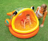 bola de pescado inflable al por mayor-Boca grande pescado piscina inflable baño de bebé cuenca bola de océano piscina bebé natación suministros de entretenimiento