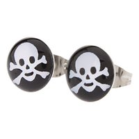 Wholesale Supper Deals - Supper Deal!! Free Shipping 18 pairs Fashion Skull Symbol Stainless Steel Stud Earrings Fashion Beautiful Women Earrings Gift