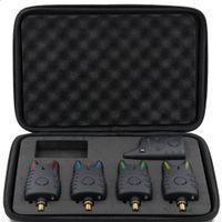 Wholesale Carp Alarm Wireless - High Quality Wireless Digital Fishing LED Alarm Set 4 Fishing Bite Alarm + 1 Receiver in Case Carp Fishing Alert Tackle Tool