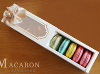 15.7 * 6.8 * 5.2cm White Window Macaron Boxe Cake Box Chocolate Box 100piecelot Livraison gratuite par express