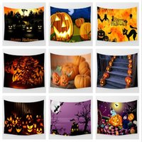 Wholesale Ghosts Children - 14 Designs 150*100cm Halloween Pumpkin Ghosts Pattern Home Decoration Wall Hanging Towel Polyester Wall Decor CCA7497 10pcs