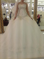 Wholesale Big Corset Wedding Dresses - Plus Size Wedding Dresses 2016 Princess Ball Gown Sweetheart Bling Sparkly Crystals Beads Corset Church Bridal Gowns Big Puffy Skirt New