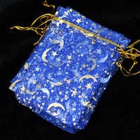 Wholesale Moon Stars Favor Bags - Royal Blue Organza Jewelry Bag 7x9cm Favor Moon Star Wedding Jewelry Packaging Pouches Small Organza Gift Bags 100pcs lot
