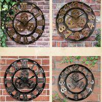 relojes de pared de madera rústica al por mayor-Reloj de pared grande de madera de época grande retro vintage al por mayor hecho a mano retro arte decorativo de lujo en la pared para regalo