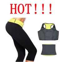 Wholesale Hot Capri Pants - Weight Loss Slimming Women's Slimming Sets Hot Shapers Pants Belt Jacket Thermo Wear Capri Anti Cellulite Shorts Set