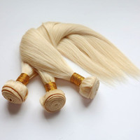 Wholesale Bleach Blonde Hair - Virgin Brazilian Hair Bundles Human Hair Weaves Weft #613 Bleach Blonde Peruvian Indian Malaysian Mongolian Mink Remy Human Hair Extensions