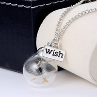 Wholesale Necklaces Crystal Letter Pendants - New Version ! Crystal Ball Real Dandelion Seed Wishing Wish Necklace Long Silver Chain HIGH QUALITY