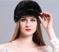 Wholesale Mink Muff - Winter new lady warm fur mink tongue cap Korean version of the lovely warp knitting embroidery mink cap
