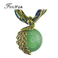 Wholesale Ethnic Pendant Necklace - Wholesale-Ethnic Jewelry Bohemian Colorful Women Beads Natural Stone Peacock Pendant Necklace With Multilayer Chain Turkish Jewelry