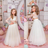 Wholesale chiffon shirts for kids - 2017 White Lace Two Pieces Boho Flower Girls Dresses for Beach Long Sleeves Chiffon Floor Length Kids Weddings Party Dresses