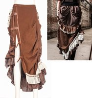 Wholesale Pleated Brown Skirts - Rq-bl Steampunk Theater Movie Maxi Skirt Brown vintage steampunk with straps and pleated back RQBL Sp083