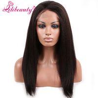 Wholesale Best Human Hair Yaki Wigs - 7A Italian Yaki African American Full Lace Human Hair Wigs Best Glueless Brazilian Virgin Kinky Straight Lace Front Wigs