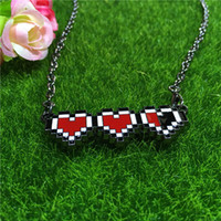 Wholesale Necklace For Health - The Legend of Zelda keychain Lovely CARTOON collection toys health bar necklace red heart pendants anime jewelry for men women Christmas gif