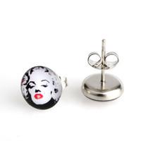 Wholesale Monroe Studs - Free shipping 20 pairs 10mm Marilyn Monroe Stainless Steel Stud Earrings,Fashion Beautiful Gift Earring Women Earring #30324