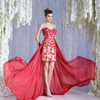 Wholesale Cheap Couture Gowns - 2016 Red 3D Appliques Prom Dresses With Detachable Train Spaghetti Straps Sheath Party Gowns Cheap Toumajean Couture Evening Wear For Women