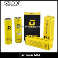 Authentic Listman 60A Lithium Bateria 3.7v 2600mAh Flat Top Li-on 18650 Bateria mais alta descarga Bateria E Cigarros Sigelei 213