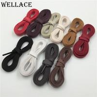 ingrosso cavo in pelle 8mm-Wellace policromo bianco nero cera piatta lacci delle scarpe in cotone laccio larghezza 8mm cavo per scarpe in pelle unisex stivali 150 cm